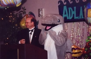 "AAF District Governor Chris Frye and MC Peter ""Flipper""  C.--2001 Flint Addy Awards"