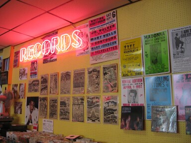 "Pete Flander's ""Musical Memories"" Record Store--Flint, Michigan. Note Original ""Wild Wednesday"" Posters on Back Wall"